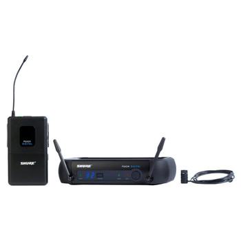 SHURE PGXD14/85-X8, PGXD4 receiver, PGXD1 bodypack transmitter, WL185 lavalier microphone. EMI Audio