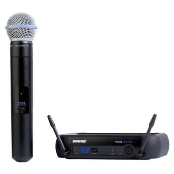 SHURE PGXD24/BETA58-X8, PGXD4 receiver, PGXD2/BETA58A handheld transmitter, clip, power supply. EMI Audio