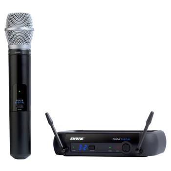 SHURE PGXD24/SM86-X8, PGXD4 receiver, PGXD2/SM86 handheld transmitter, clip, power supply. EMI Audio