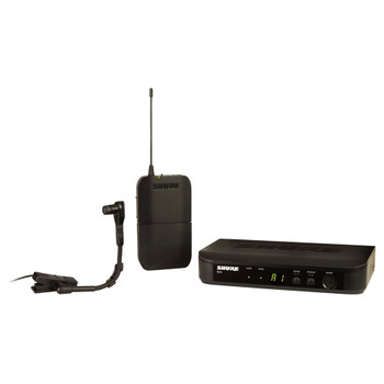 SHURE BLX4 Wireless Receiver, BLX1 Bodypack Transmitter, and WB98H/C Cardioid Condenser Instrument Mic. EMI Audio