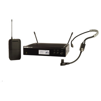 SHURE BLX4R rack mount receiver, BLX1 bodypack transmitter and SM35 headset microphone. EMI Audio