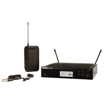 SHURE BLX4R Wireless Receiver, BLX1 Bodypack Transmitter, and WL185 Lavalier Microphone. EMI Audio