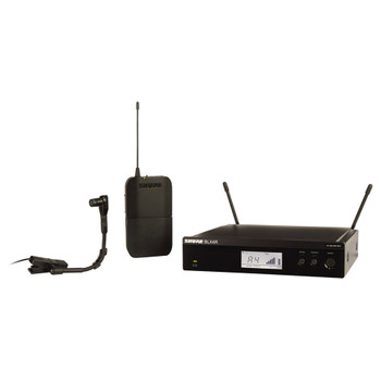 SHURE BLX4R rack mount receiver, BLX1 bodypack transmitter and BETA®98H/C instrument microphone. EMI Audio