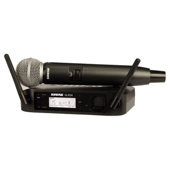 SHURE GLXD24/SM58-Z2 Vocal System with GLXD4 Wireless Receiver, GLXD2 Handheld Transmitter with SM58 Microphone. EMI Audio
