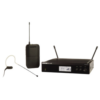 MX153 earset microphone, BLX1 bodypack transmitter with BLX4R rack mount receiver. EMI Audio