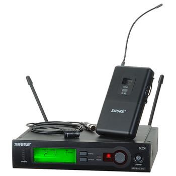 SHURE SLX14/84 Includes SLX1 and WL184 Microflex® Supercardioid Lavalier Microphone. EMI Audio