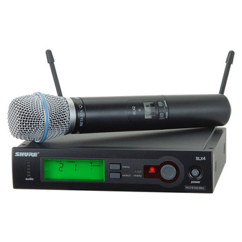 SHURE SLX24/BETA87A Includes SLX2/BETA87A Handheld Transmitter with BETA87A Microphone. EMI Audio