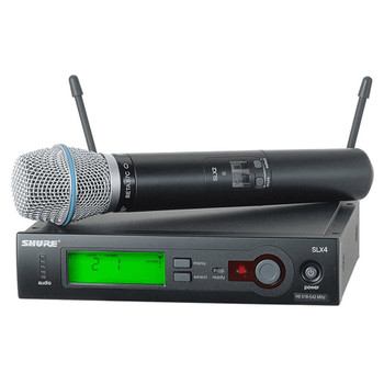SHURE SLX24/BETA87C Includes SLX2/BETA87C Handheld Transmitter with BETA87C Microphone. EMI Audio