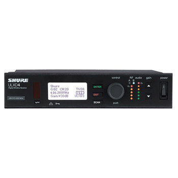 SHURE ULXD4 Single Digital Wireless Receiver front view. EMI Audio