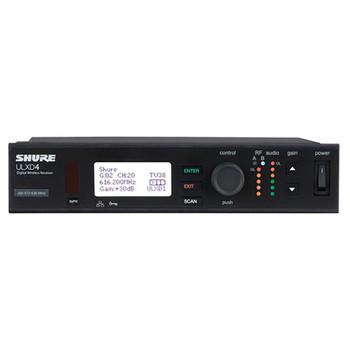 SHURE ULXD4 Single Digital Wireless Receiver front view. EMI Audio
