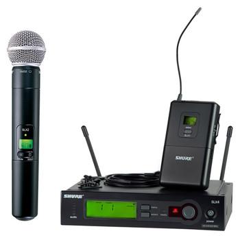 SHURE SLX124/85/SM58 Includes SLX4 Diversity Receiver, SLX1 Bodypack Transmitter, Microflex®WL185 Cardioid Lavalier