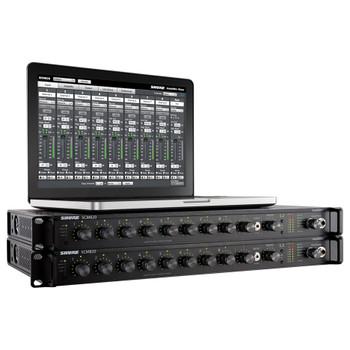SHURE SCM820-DAN Eight Channel Digital Automatic Mixer, Block Connectors, DanteTM Digital Audio with laptop showing software