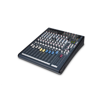 ALLEN & HEATH XB2-14 4 Mic Line + Dual Telco, compact broadcast console angled view