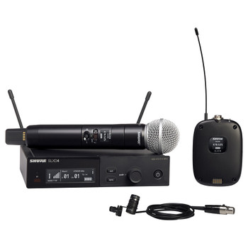 SHURE SLXD124/85-J52 Combo System with SLXD1 Bodypack, SLXD4 Receiver, SM58, and WL185 Lavalier Microphone. EMI Audio