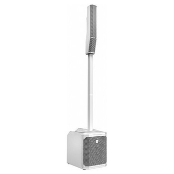 EV EVOLVE 30M White Portable Powered Column Speaker System front angle. EMI Audio