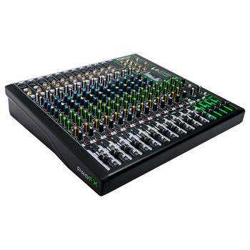 MACKIE ProFX16v3 16 Channel 4-bus Professional Effects Mixer with USB left angle view