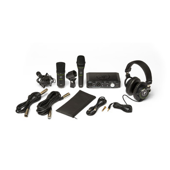 MACKIE Producer Bundle: Onyx Producer interface, EM89D dynamic mic, EM91C condenser mic and MC-100 headphones.
