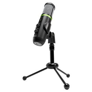 MACKIE EM-USB Condenser Microphone shown on included tripod desktop stand