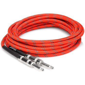 hosa-3gt-18c3-guitar-cable-quarter-inch-to-same-red-and-green-coil-view