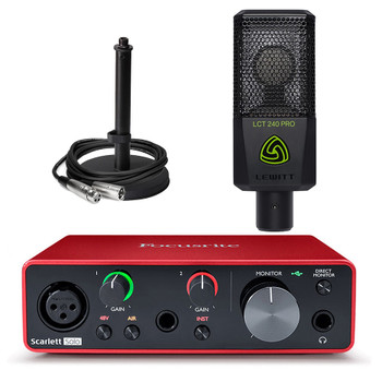 FOCUSRITE-Scarlett-Solo-USB-interface-Hewitt-LCT-240-mic-stand-cord. EMI Audio
