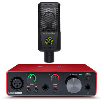 FOCUSRITE-Scarlett-Solo-USB-interface-Hewitt-LCT-240-mic. EMI Audio