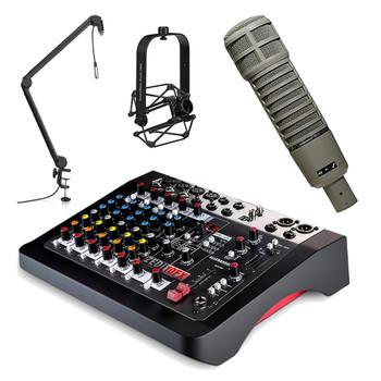 EV-RE-20-mic-shockmount-ZEDi-10fx-mixer-frameworks-boom-stand. EMI Audio