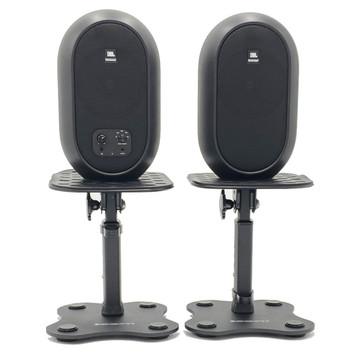 JBL 104SET BT black Monitors on Yorkville SKS-T11 stands. EMI Audio