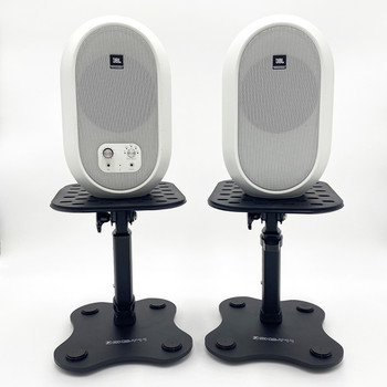 JBL 104SET BTW white Monitors on Yorkville SKS-T11 stands. EMI Audio