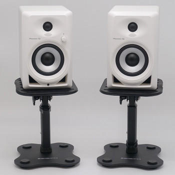 PIONEER DJ DM-40 White monitors on YORKVILLE SKS-T11 stands. EMI Audio