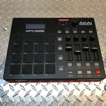 AKAI MPD226 Highly Playable Pad Controller angled view. EMI Audio