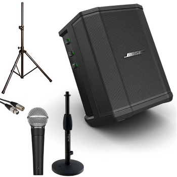Bose S1 Pro Battery-Powered PA System, Built-In Mixer and Bluetooth bundle view. EMI Audio