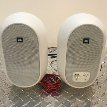 JBL 104 SET-BT-WHITE Powered Monitors front view. EMI Audio
