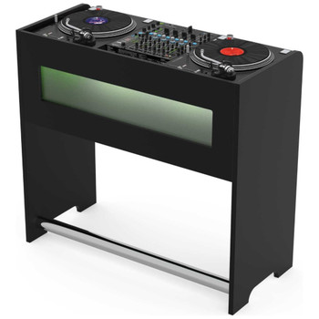 Glorious-GigBar-Black-DJ-Workstation-for-One-DJ-Controller-Angle-With-Controller-EMI-Audio