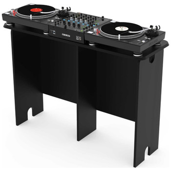 Glorious Mix Station Black DJ Table for Two DJ Controllers-Angle-With-Controller-EMI-Audio