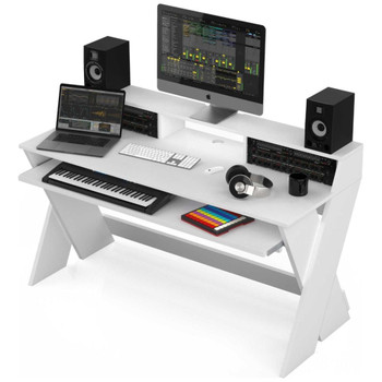 Glorious-Sound-Desk-Pro-White-Complete-DJ-Studio-Desk-Angle-EMI-Audio