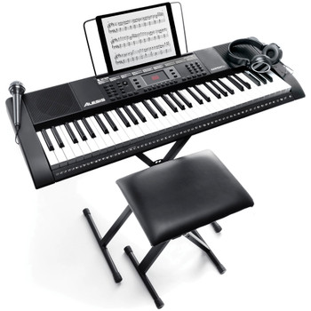 Alesis-Harmony-61-MKII-61-Key-Keyboard-with-Stand-Bench-Microphone-Headphones-Music-Rest-and-Built-In-Speakers-Angle-Bench-EMI