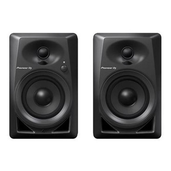 "PIONEER DJ DM-40 compact 4"" 21W desktop monitors front view. EMI Audio"
