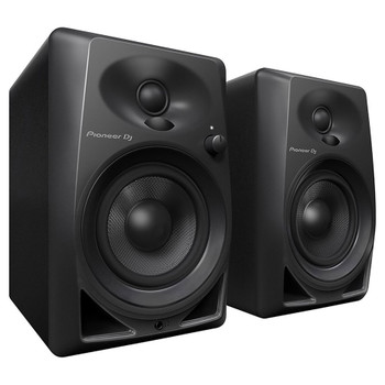 "PIONEER DJ DM-40BT 4"" 21W compact desktop monitors angle view. EMI Audio"