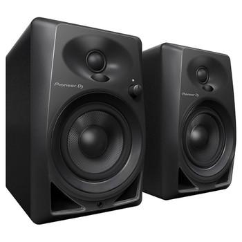 "PIONEER DJ DM-40BT4"" 21W compact desktop monitors angle view. EMI Audio"