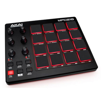 AKAI MPD218 MIDI-over-USB pad controller angled view. EMI Audio