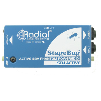 RADIAL SB-1 Active compact active DI (stagebug) for acoustic guitar & bass, 48V phantom powered side view EMI Audio