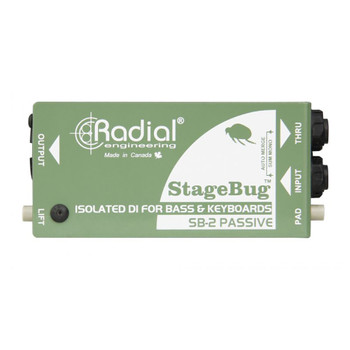 RADIAL SB-2 Passive compact passive DI (stagebug) for bass & keyboards w/ stereo to mono mix side view EMI Audio