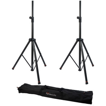 GATOR FRAMEWORKS GFW-SPK-3000SET TWO SPEAKER STANDS WITH BAG - Quick Shipping Available