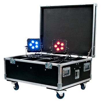 ADJ WI FLIGHT CASE Heavy Duty Road Case for 8 ADJ WiFLY LED Pars with 120V 3-prong Edison charging power plugs