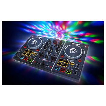 "PartyMix 2 channel DJ controller with volume and EQ controls, soft keys, 1/8"" headphone jack, and LEDs on the front"
