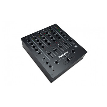 M6USB Black 4 channel DJ mixer with XLR mic jack and EQ controls for all channels