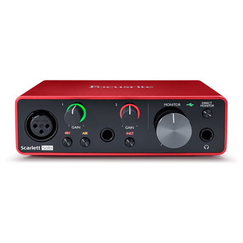 FOCUSRITE Scarlett Solo 3rd Gen mic USB interface front view. EMI Audio