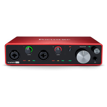 FOCUSRITE-scarlett-4i4-USB-Audio-Interface-front-view. EMI Audio