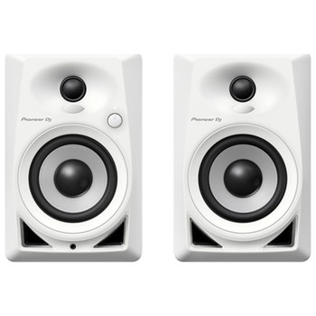 Pioneer DJ White DM-40-W 4'' Compact Desktop Monitors Front