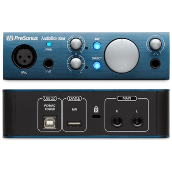 presonus-audiobox-ione-digital-audio-interface-for-studio-solo-recording-front-and-back-input-view